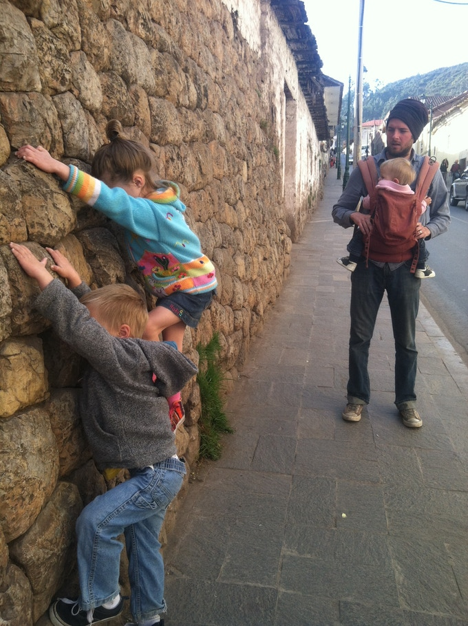Matthew living life with the kids in Cusco