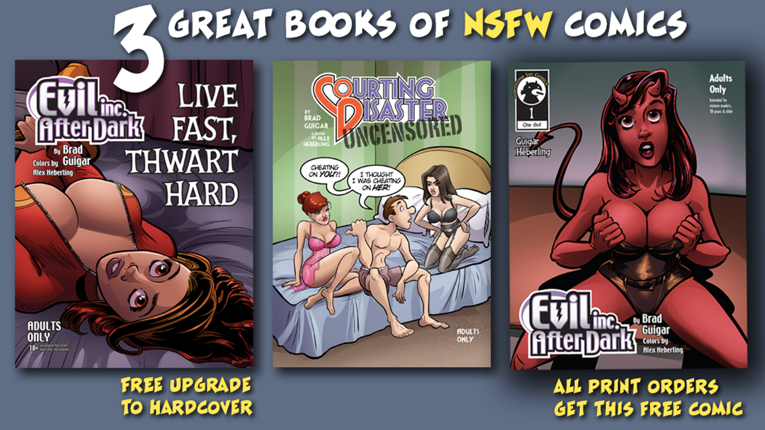 """TWO great print collections! The smutty supervillain series """"Evil Inc After Dark"""" and the risque relationship romp """"Courting Disaster""""!"""