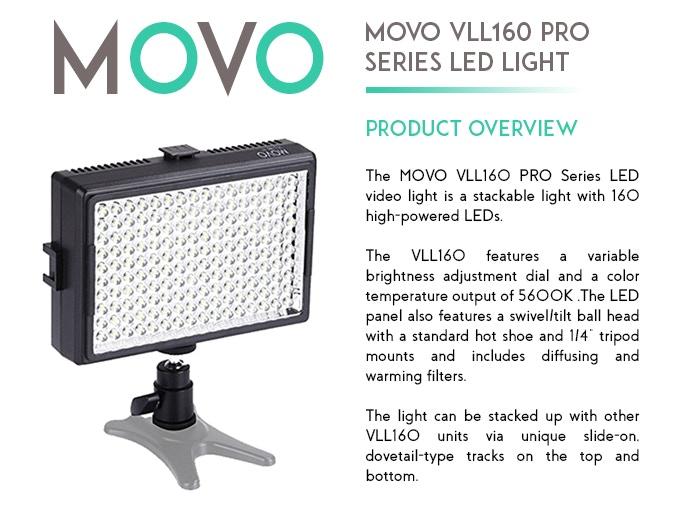 Movo VLL160 Pro-Series 160 LED Light Panel