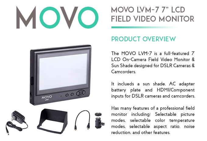 """MOVO LVM-7 7"""" On-Camera LCD Video Field Monitor"""