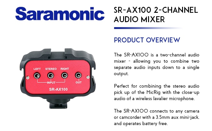 Saramonic SR-WM4C 4-Channel Wireless Microphone & SR-AX100 2-Channel Audio Mixer
