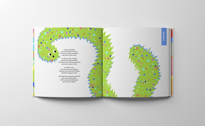 Each page features a coloured tab so you can quickly flick to the feeling you're looking for!