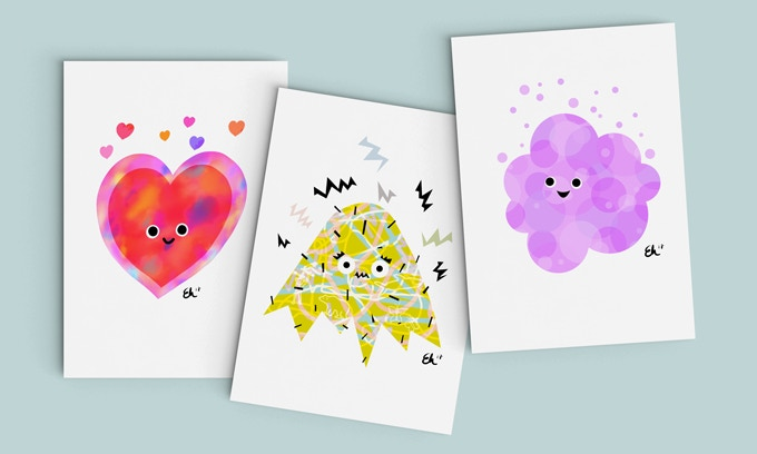 Our Limited Edition prints are available only through Kickstarter! From L-R: Loved, Nervous, and Excited!