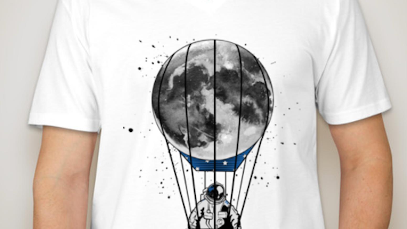 bc0a8bd6e27b3 Astronaut Riding Moon Hot Air Balloon T-shirt campaign by Nancy ...