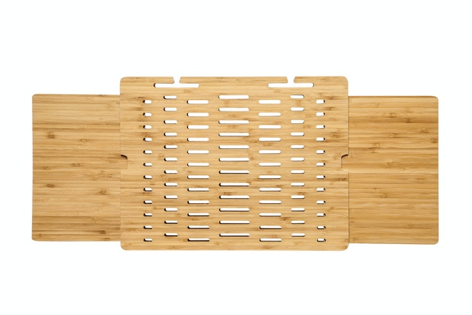 The Dual Double Slide TabBord sports 2 wood bamboo planks that slide from both the right AND the left side of the lapdesk.