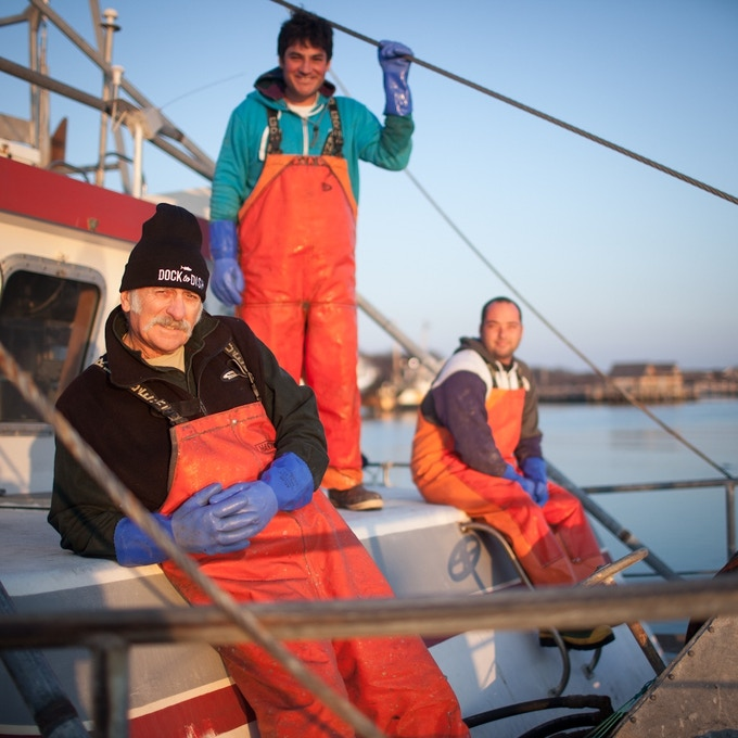 Know Your Fisherman: 16th generation Montauk fisherman, Captain Bruce Beckwith (left), alongside Charlie Etzel (center) and Jeremy Gould (right)