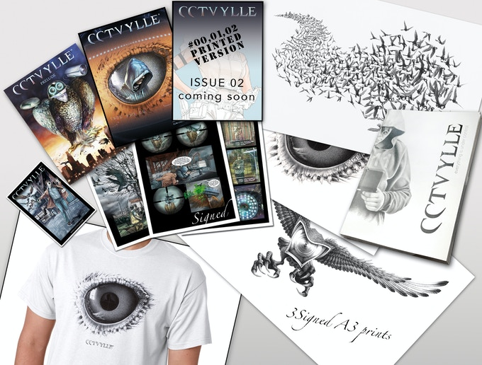 All 3 printed comic issues, 3 A3 and 3 A4 signed prints, Monograph (112 pages), T-Shirt & sticker