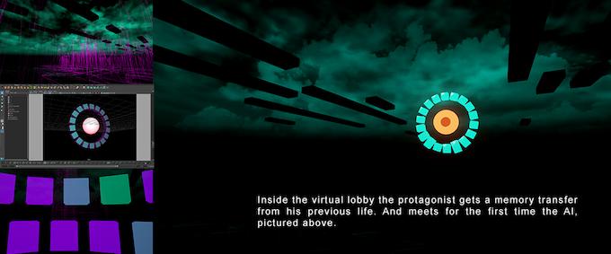 Dentro del lobby virtual el protagonista obtiene una transferencia de memoria de su anterior vida, y conoce a la inteligencia artificial por primera vez, como se ve en la imagen.