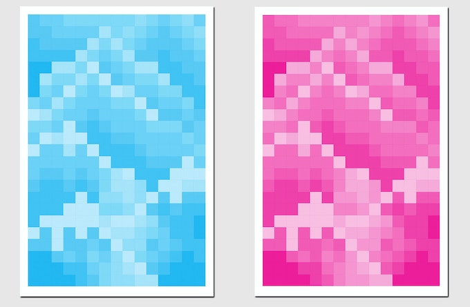 """Pledge $175 - Choose a 12x18"""" signed Mountain Mosaic Print by The Bruce High Quality Foundation  in Cyan or Magenta, produced in collaboration with Artspace"""