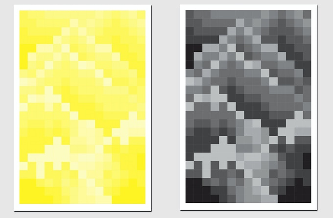"""Pledge $175 - Choose a 12x18"""" signed Mountain Mosaic Print by The Bruce High Quality Foundation in Black or Yellow, produced in collaboration with Artspace"""