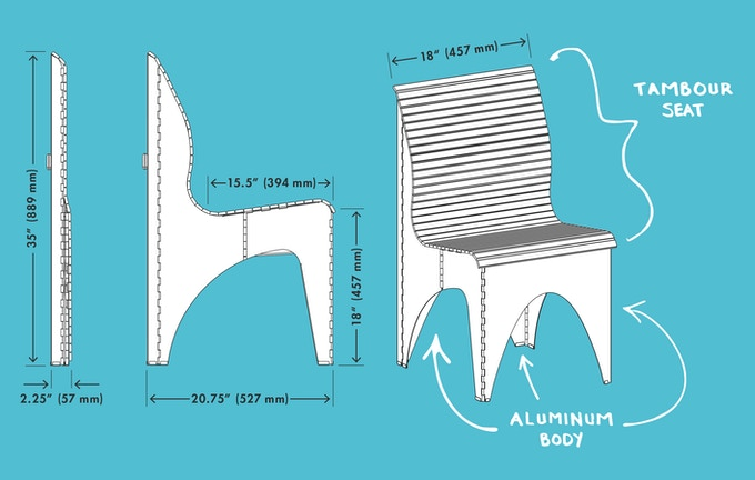 The Ollie Chair has both Standard and Metric Dimensions
