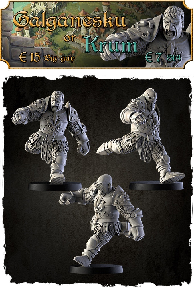 This model can be added in 2 different scale: Galganesku - Big Guy as a normal Ogre size; Krum as an human with St4 size