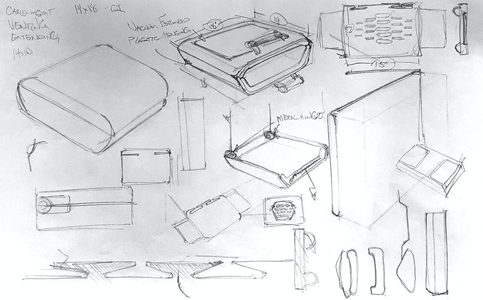 Early ideation sketches of SatchelBord
