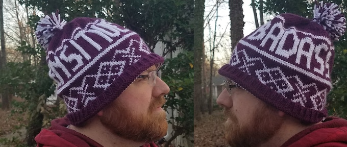 "Hat mock-up: final yarn will be ""woolier"" and hat pattern may change slightly"