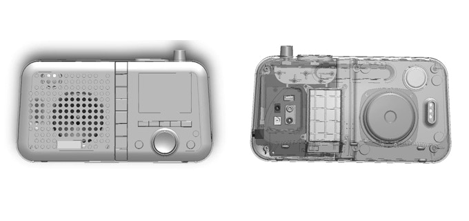 CAD mechanical assembly files showing a front and back view of the assembled unit