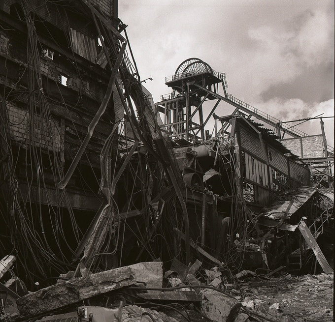 Penrhiwceiber Colliery being demolished after the 1984/85 miners' strike, Cynon valley, 1985.