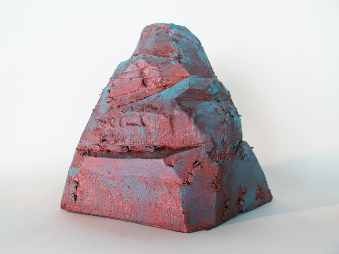 """Pledge $300 - Receive a one-of-a-kind, hand sculpted """"Featherweight Mountain"""" by The Bruce High Quality Foundation, copper polymer on lightweight foam."""
