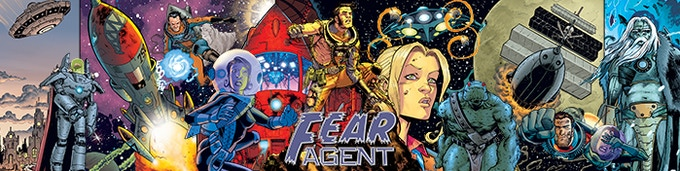 The GM Screen for the Fear Agent™ RPG is a three panel, hard board, landscape format screen with tips and reminders for the Game Master to use—with Tony Moore and Jerome Opeña's amazing art on the player's side!