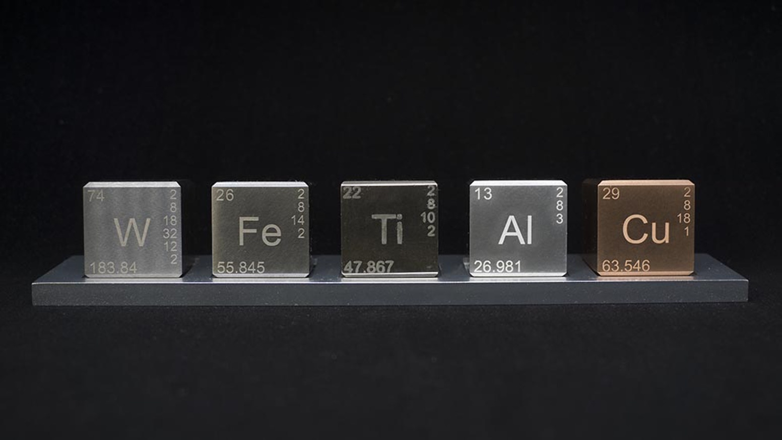 A beautiful desk ornament made of 4 unique elements from the periodic table.