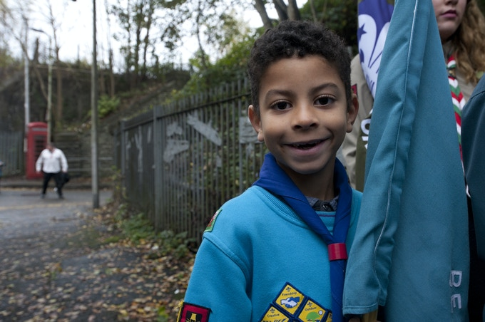 Young lad, a member of the Cubs group, Merthyr, 2015.