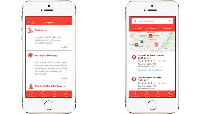 The degree° App guides you through treatment options and shows location based medical services