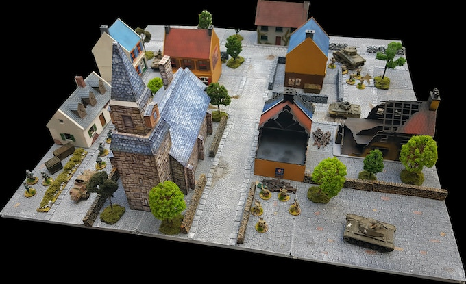 """Populating a """"Medieval"""" themed Urban board; buildings and models included only for demonstration purposes, not part of the Sets"""
