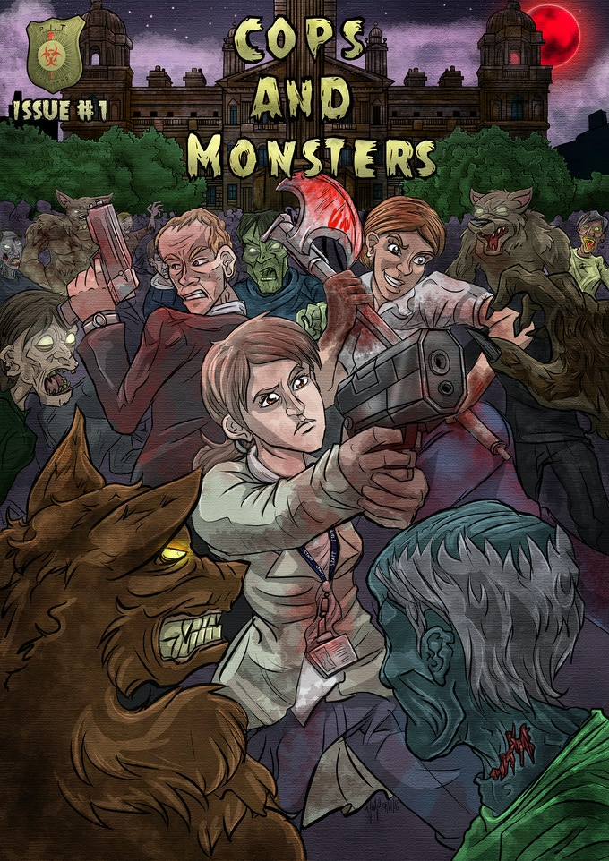 The Cops and Monsters Comic Book Title Page by Michael Philp