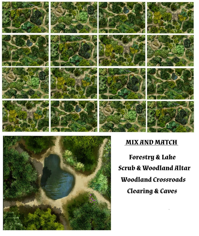 Here are the 4 Meander 1 Forest Maps shown joined in different configurations.