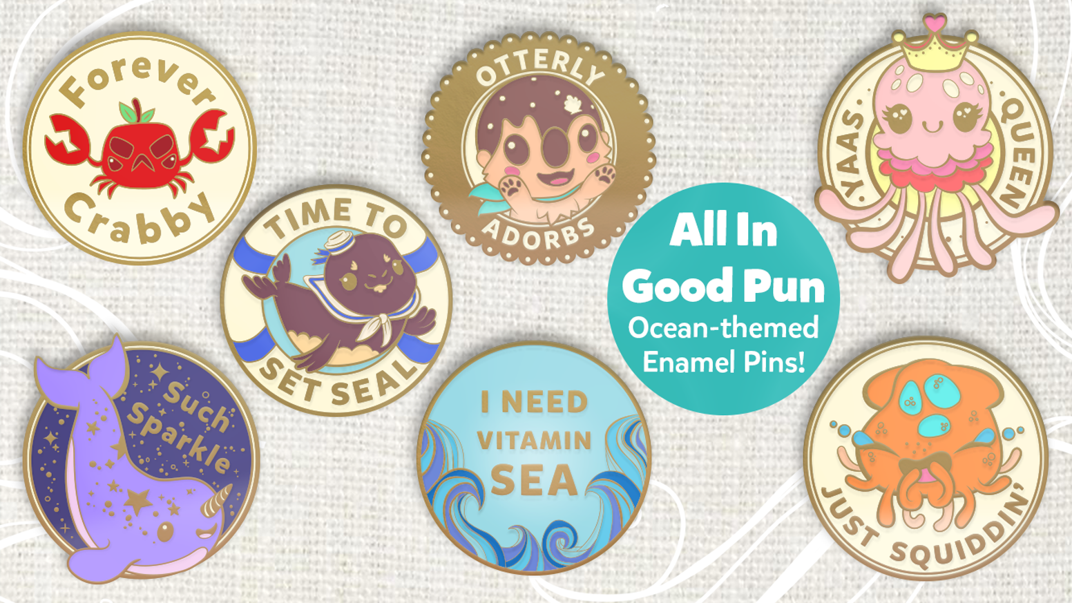 04e87f8fdc inki-Drop is creating original enamel pin designs with fun and funky  wordplay slogans.