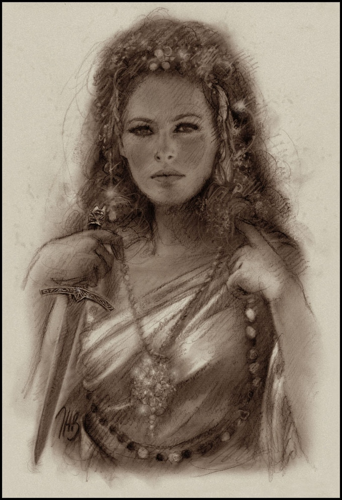 Original art available at the $450 pledge level, my dream casting of a young Ursula Andress as La of Opar, in a Tarzan movie never made