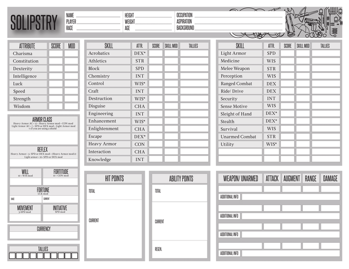 Solipstry Character Sheet