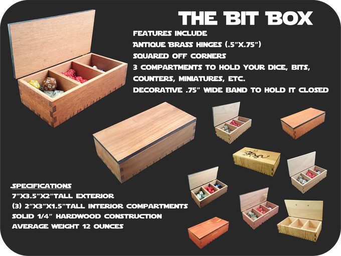 This cute little box will make sure you always have a place for all of those tiny little bits that keep getting misplaced!  And at only $25 for Standard woods or $40 for premium woods, it won't break the bank to look good!