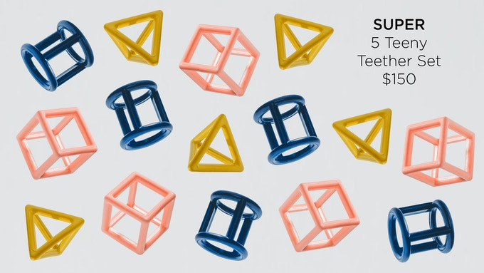 A super set for you to keep or to share. Five Teeny Teether sets will make a giant tower or share the love of basic geometry to friends and families.