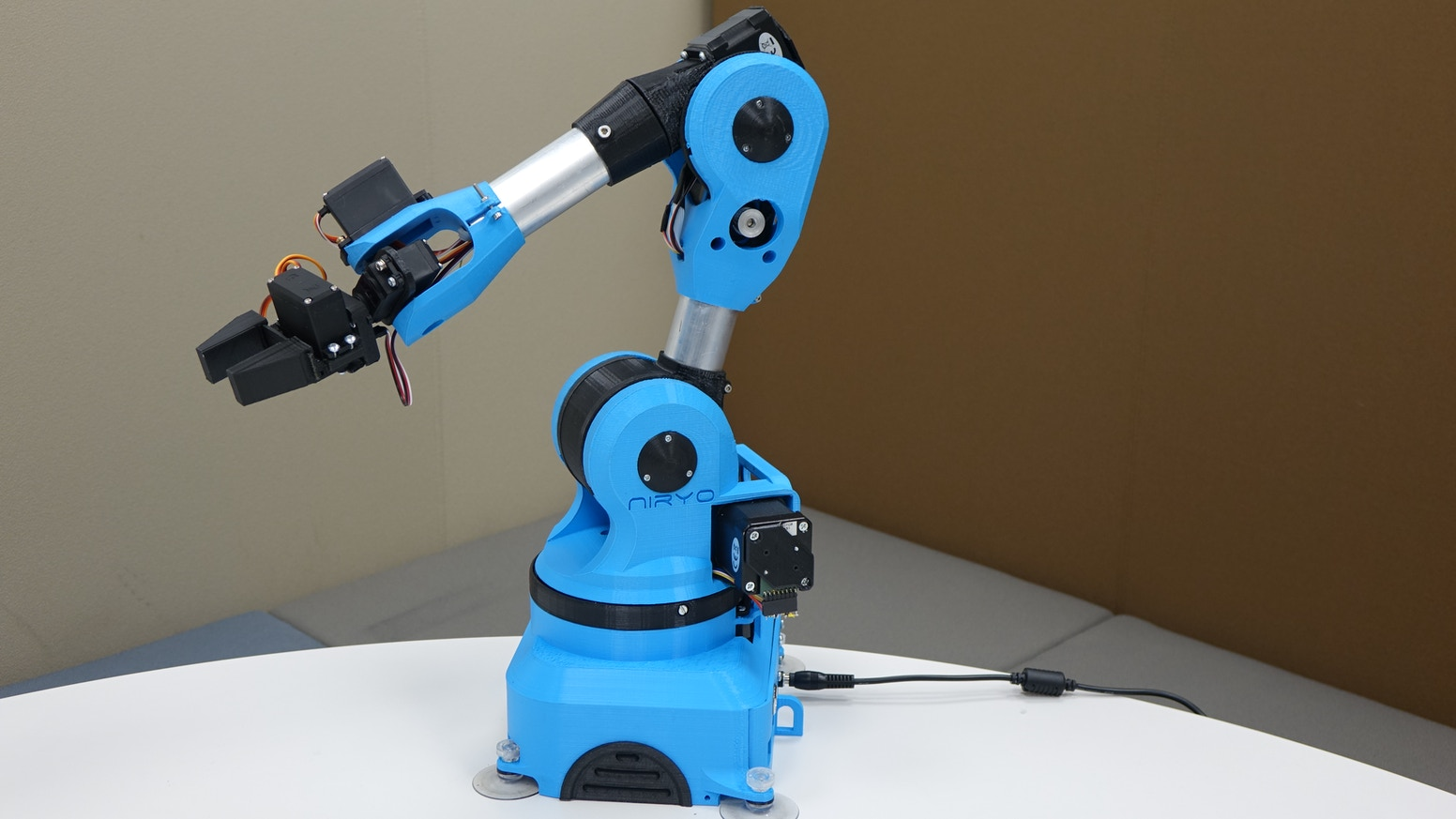Niryo One is an accessible connected 6 axis robotic arm, powered by Arduino, Raspberry Pi and ROS. Use it at home, at work, at school !