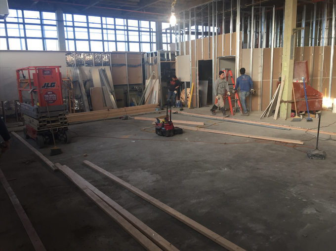 Work in progress. The future dance floor and communal seating area indoors at Nowadays.