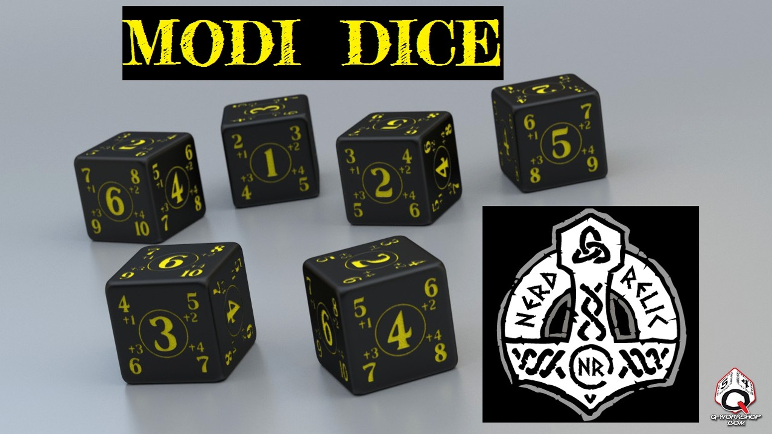 Welcome to Modi Dice, we've come up with a dice design (Manufactured by Q-Workshop) that incorporates a plus modifier built in.