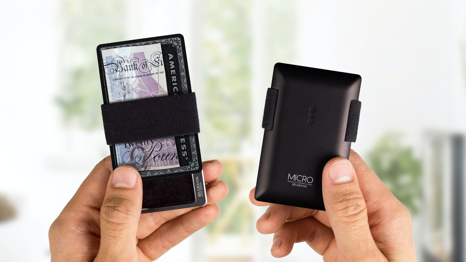 This distinctive RFID blocked card wallet uses an elastic strap to hold cards, notes and coins to a beautifully machined aluminium body