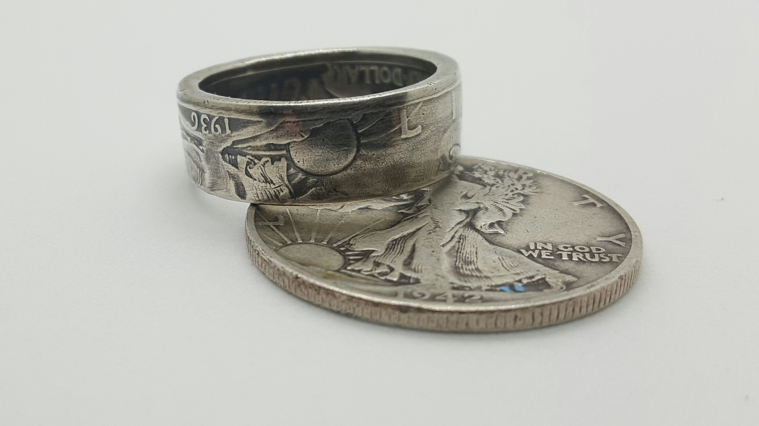 abdb8094fcf1f Veteran made, Vintage Walking Liberty Coin Ring by Adam Reuter ...