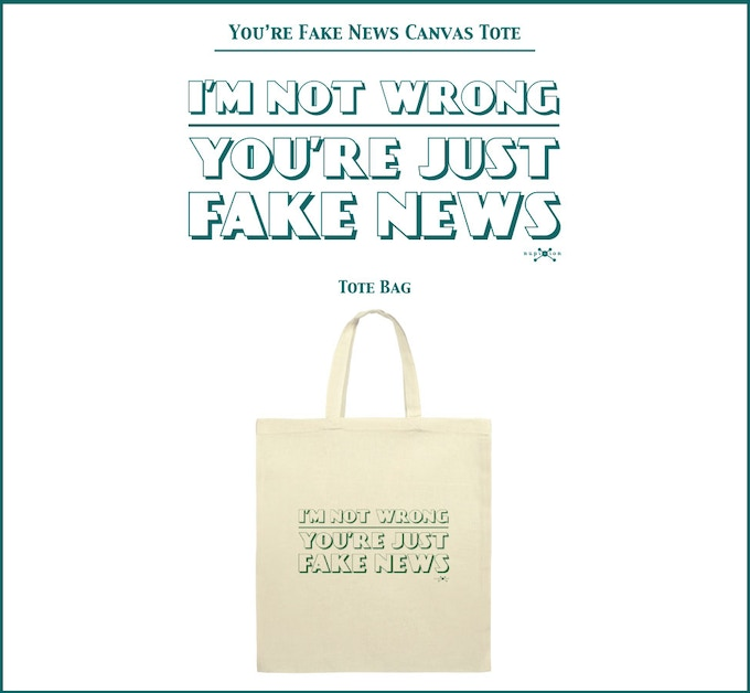 You're Fake News Canvas Tote Bag