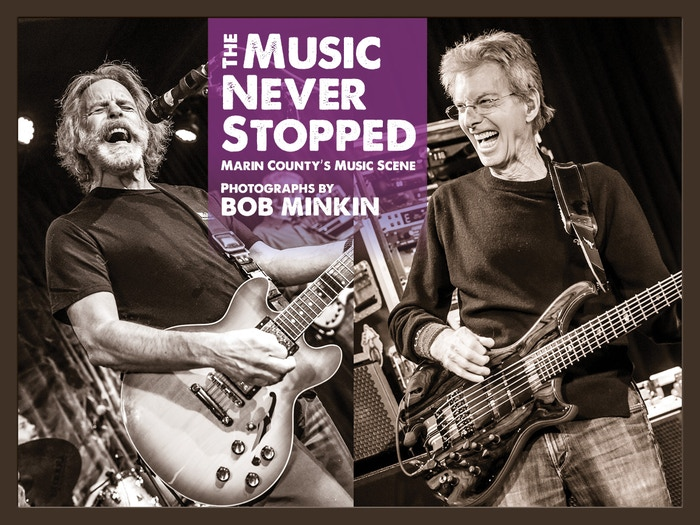 Stunning hardcover coffee table book spanning over 25 years of music photography and stories in Marin County, CA by Bob Minkin