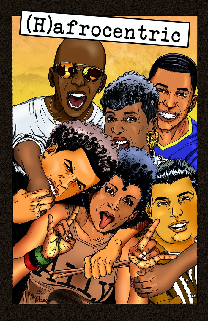 """(H)AFROCENTRIC, written by Juliana """"Jewels"""" Smith, illustrated by Ronald Nelson."""