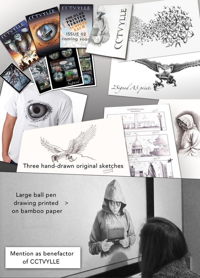 2 copies of issues 00, 01, 02, Printed Monograph (112 pages), 2 A3 signed prints, 3 original sketches, A large scale ball pen drawing printed on bamboo paper, signed A4 prints, T-Shirt and a mention as benefactor of CCTVYLLE