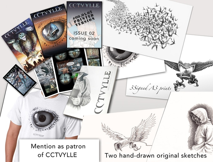 Everything mentioned in Reward #8 + One extra original sketch and mention as patron of CCTVYLLE