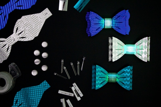 """DIY Light-Up Bow Ties """"Blues"""" Color Combination: Blue, White, and Teal"""