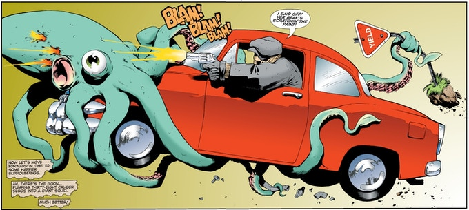 The Goon and Franky run over a squid....the panel that made us *have* to bring Eric Powell's world to Savage Worlds!