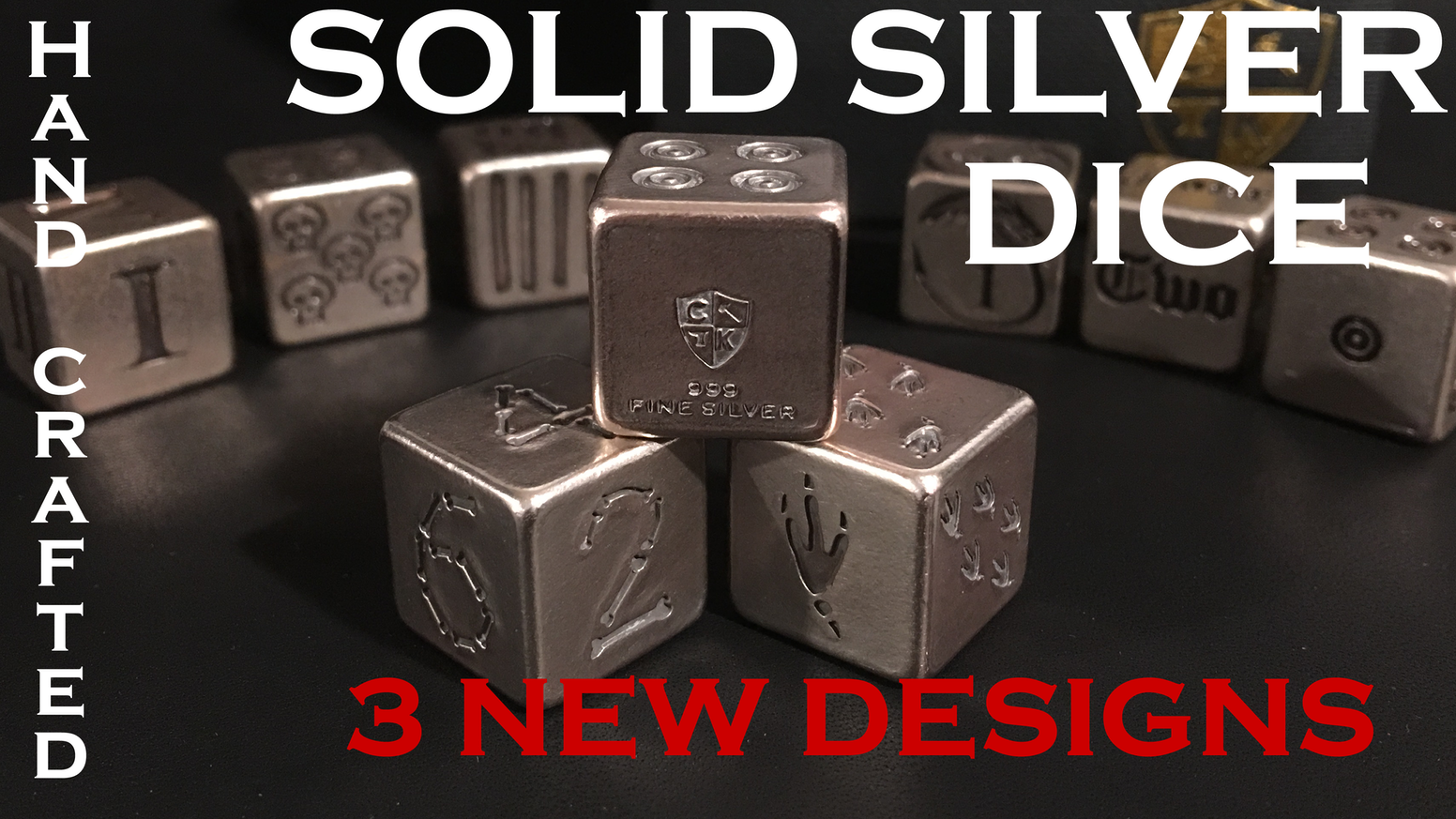 """Premium Handcrafted, """"Old World"""" Dice made out of SOLID, Silver & Copper! Your choice of Skull, Dragon, Roman, Viking, & other Designs!"""