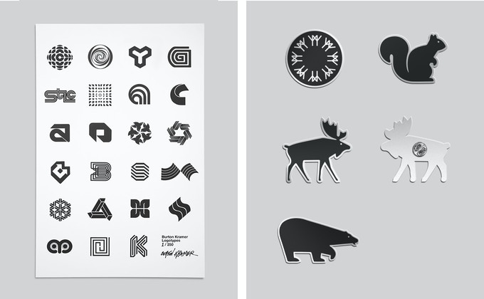 "Signed 5x7"" letterpress by Burton Kramer, Expo 67 Animal Pictogram Pins by Burton Kramer"