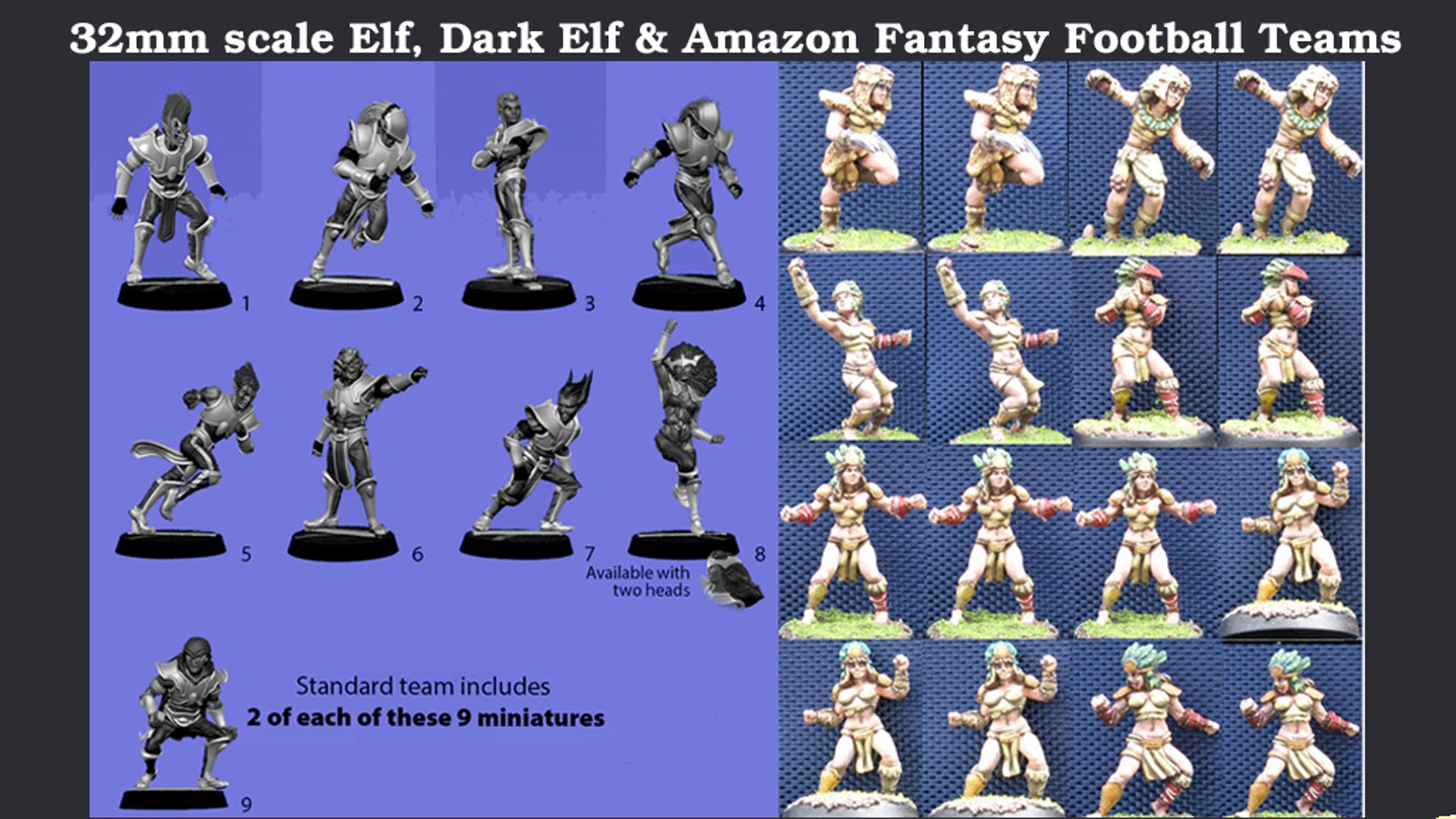 32mm scale Fantasy Football Amazons, Elves & Dark Elves by Impact
