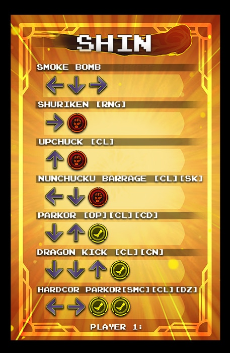 Character Card: Shin player 1 side.