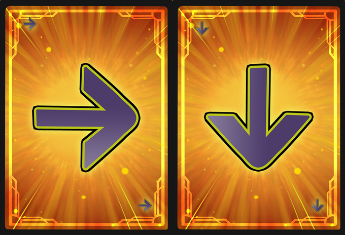 Joystick Cards examples, Right and Down